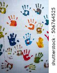 Children Hand Prints On The Wall