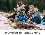three cheerful young women in... | Shutterstock . vector #506767549