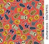 seamless halloween flat design. ...   Shutterstock .eps vector #506769901