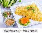 pastry stuffed crispy egg crepe ...   Shutterstock . vector #506770681