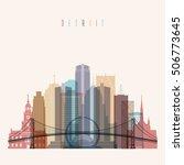 transparent styled detroit... | Shutterstock .eps vector #506773645