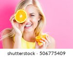 happy young woman holding... | Shutterstock . vector #506775409