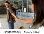 goodbye. young woman is seeing... | Shutterstock . vector #506777569