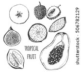vector tropical fruit set   fig ... | Shutterstock .eps vector #506782129