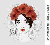 portrait of young beautiful... | Shutterstock .eps vector #506784385