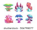 beautiful fantasy mushrooms set.... | Shutterstock .eps vector #506798077