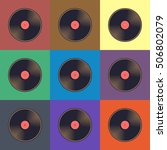 Vinyl Records With Colorful...