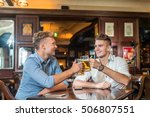 beer and friends. boys drinking ... | Shutterstock . vector #506807551