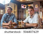 boys drinking beer in pub and... | Shutterstock . vector #506807629