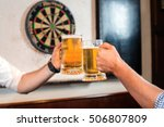 beer glasses clinking. close up ... | Shutterstock . vector #506807809