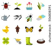 spring icons set. flat... | Shutterstock .eps vector #506808391