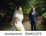 happy man catching a beautiful...   Shutterstock . vector #506821375