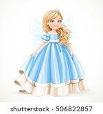 little blond princess girl in... | Shutterstock .eps vector #506822857