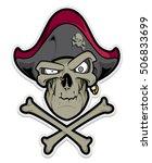 pirate mascot. pirate skull... | Shutterstock .eps vector #506833699