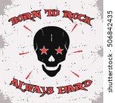 rock and roll skull on vintage... | Shutterstock .eps vector #506842435