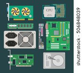 parts of computer. video card ... | Shutterstock .eps vector #506848039