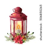 Watercolor Traditional Red...