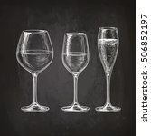 set of wineglasses. red wine ... | Shutterstock .eps vector #506852197