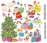 set of cute funny christmas... | Shutterstock . vector #506853505