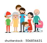 big family asia on white... | Shutterstock .eps vector #506856631