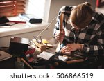 leather handbag craftsman at... | Shutterstock . vector #506866519