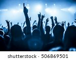 silhouettes of concert crowd in ... | Shutterstock . vector #506869501