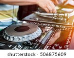dj playing and mixes track on