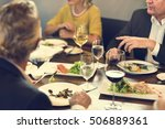 business people dining together ... | Shutterstock . vector #506889361
