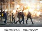 business people walking in the... | Shutterstock . vector #506892709