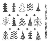 set of christmas black trees... | Shutterstock .eps vector #506903299