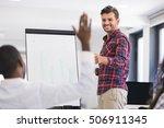 businessman giving a... | Shutterstock . vector #506911345
