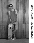 Cool Street Skateboarder With...