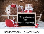 sleigh with gifts  snowflakes ... | Shutterstock . vector #506918629