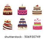 set of beautiful cakes for... | Shutterstock .eps vector #506930749