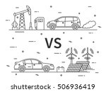 fuel  gas  car vs electric car... | Shutterstock .eps vector #506936419