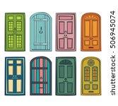 set with different doors | Shutterstock .eps vector #506945074