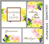 invitation with floral... | Shutterstock .eps vector #506947957