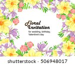 invitation with floral... | Shutterstock . vector #506948017