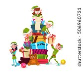 christmas elf group cartoon... | Shutterstock .eps vector #506960731