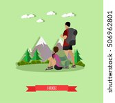 couple hiking in mountains.... | Shutterstock .eps vector #506962801
