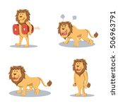 Lion Cartoon Set Illustration...