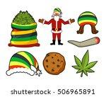 rasta christmas icons set.... | Shutterstock .eps vector #506965891