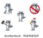 racoon cartoon set illustration ... | Shutterstock .eps vector #506968369