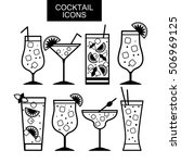 cocktail icons. cocktail menu.... | Shutterstock .eps vector #506969125