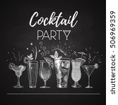 chalk drawings. cocktail menu | Shutterstock .eps vector #506969359