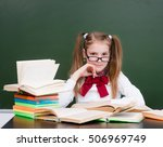 young girl with books near... | Shutterstock . vector #506969749