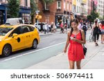 woman walking in new york city... | Shutterstock . vector #506974411