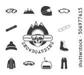 winter sports equipment icons... | Shutterstock .eps vector #506977615