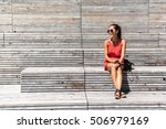 nyc travel woman in new york... | Shutterstock . vector #506979169