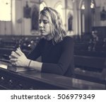 woman sitting church religion... | Shutterstock . vector #506979349